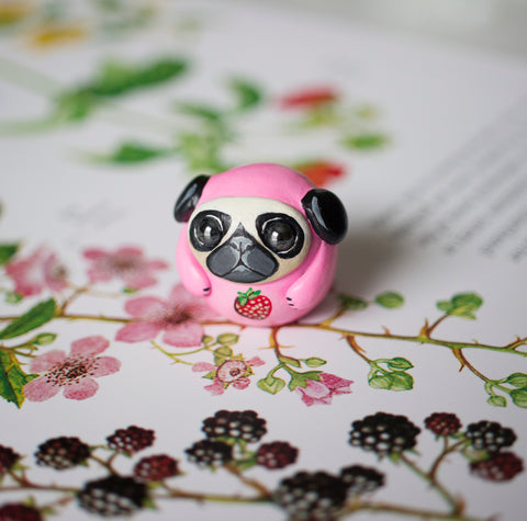 Strawberry Pug Bubble Figurine