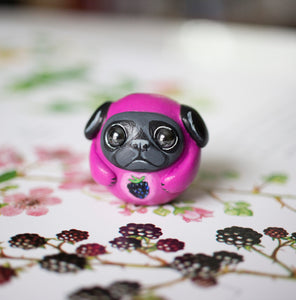 Blackberry Pug Bubble Figurine