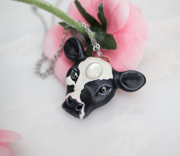 Mother of Pearl Cow Necklace