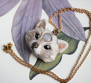 Albino Raccoon Necklace
