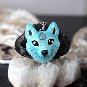 Aquamarine Wolf Necklace