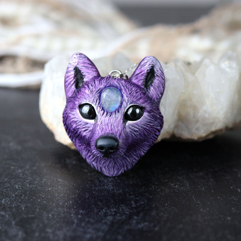 Moonstone Wolf Necklace