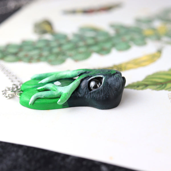Green Jackalope Necklace