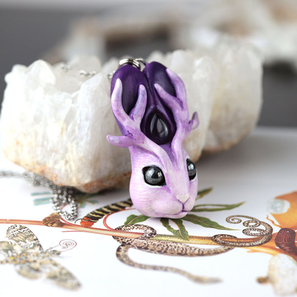 Purple Jackalope Necklace