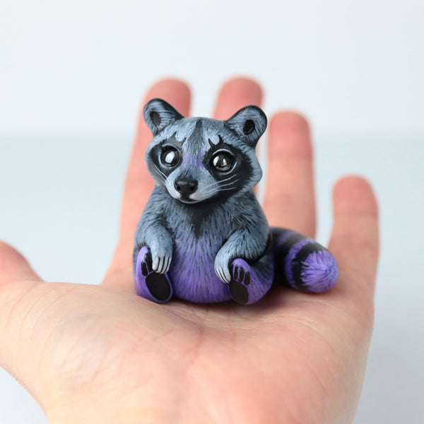 Purple Raccoon Figurine