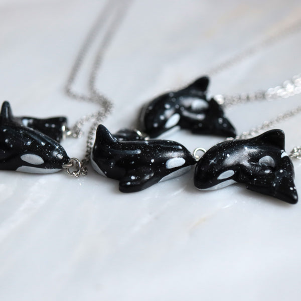 Preorder Orca Necklace - hanging position 1