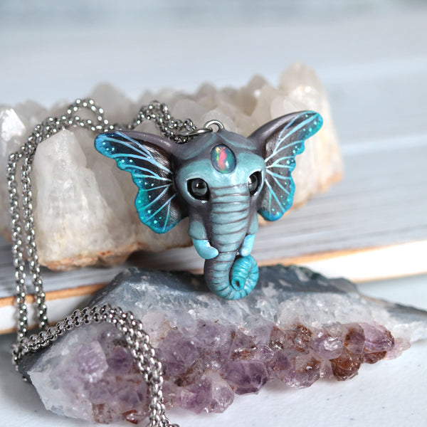 Opal Butterfant Necklace