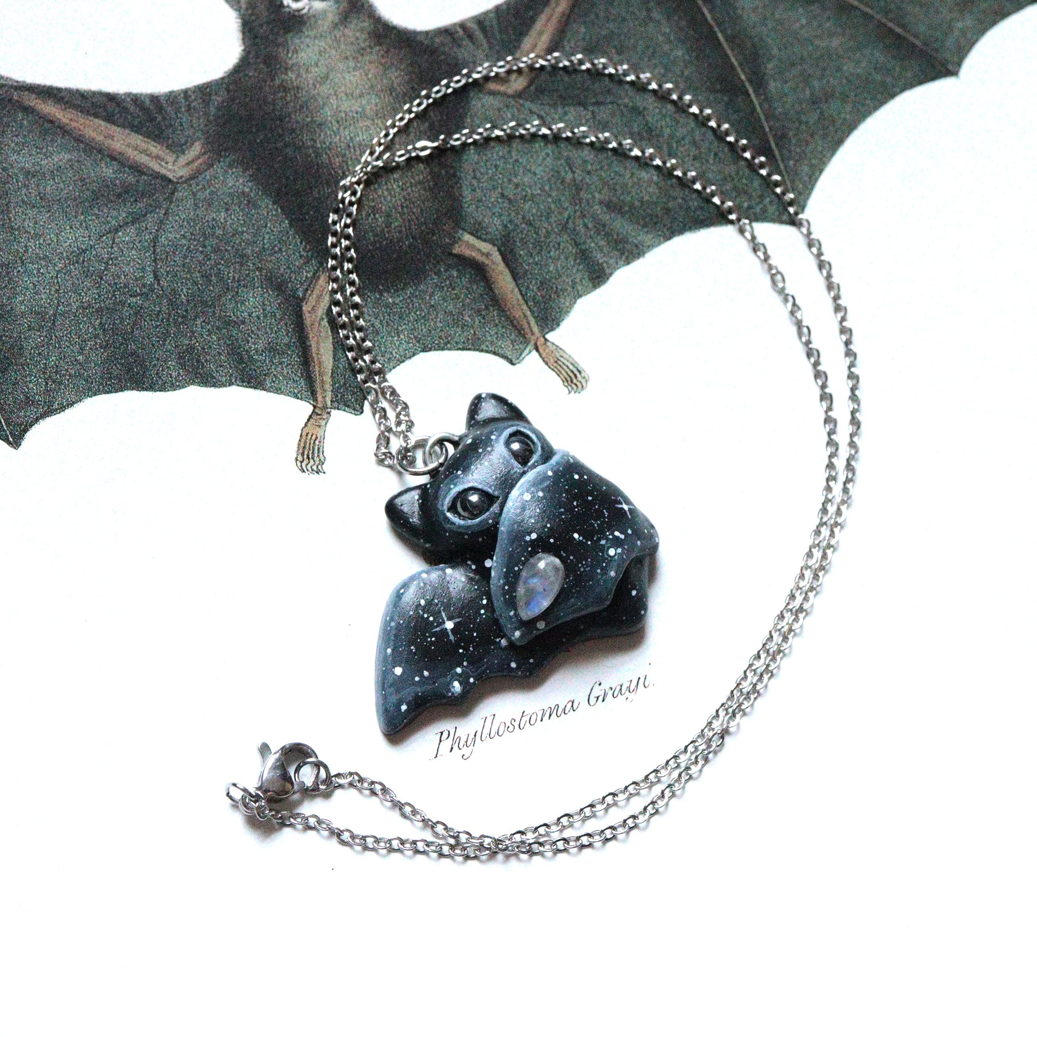 Moonstone Bat Necklace