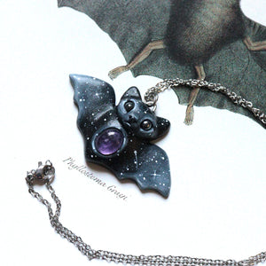 Amethyst Bat Necklace
