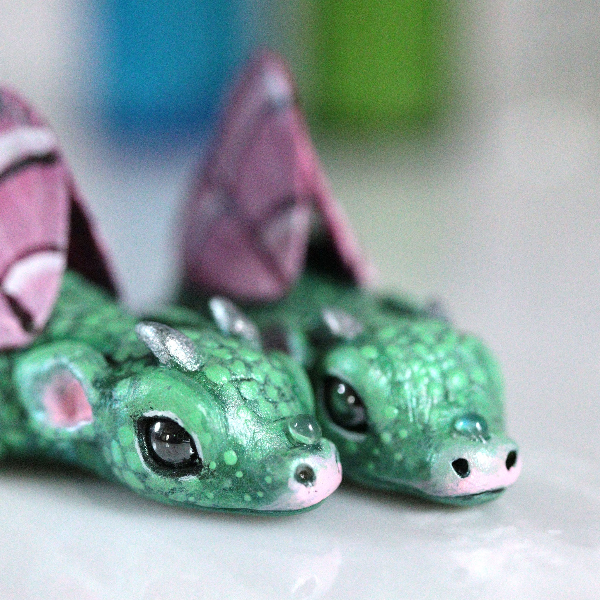 Pink Winged Bored Dragon Figurine