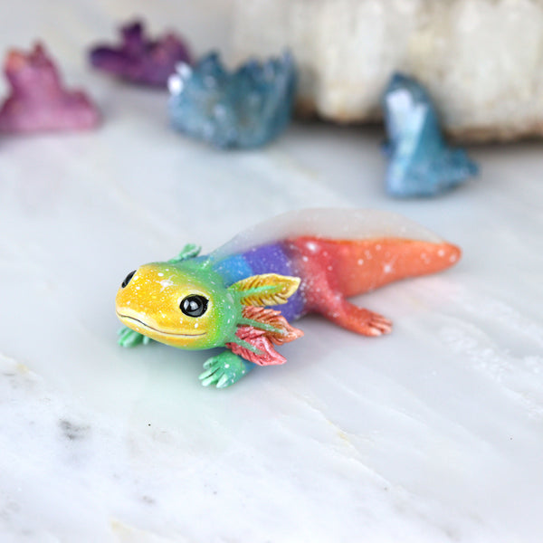 Yellow Face Rainbow Axolotl Figurine