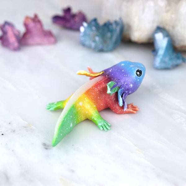 RESERVED Blue Face Rainbow Axolotl Figurine