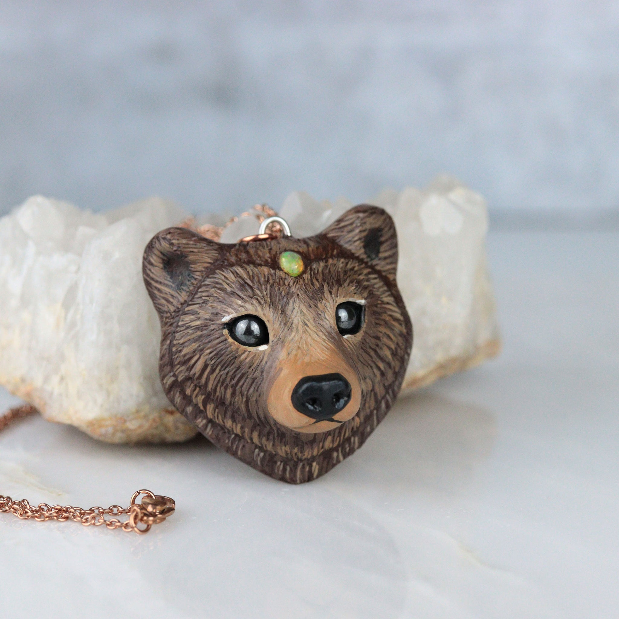 Opal Bear Necklace