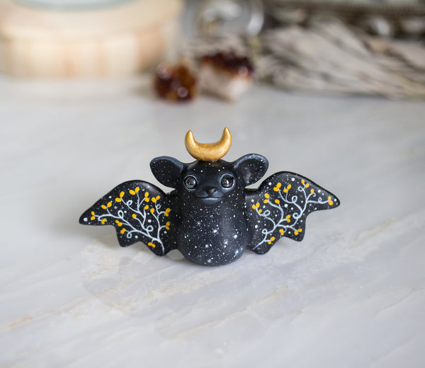 Gold Moon Bat Figurine