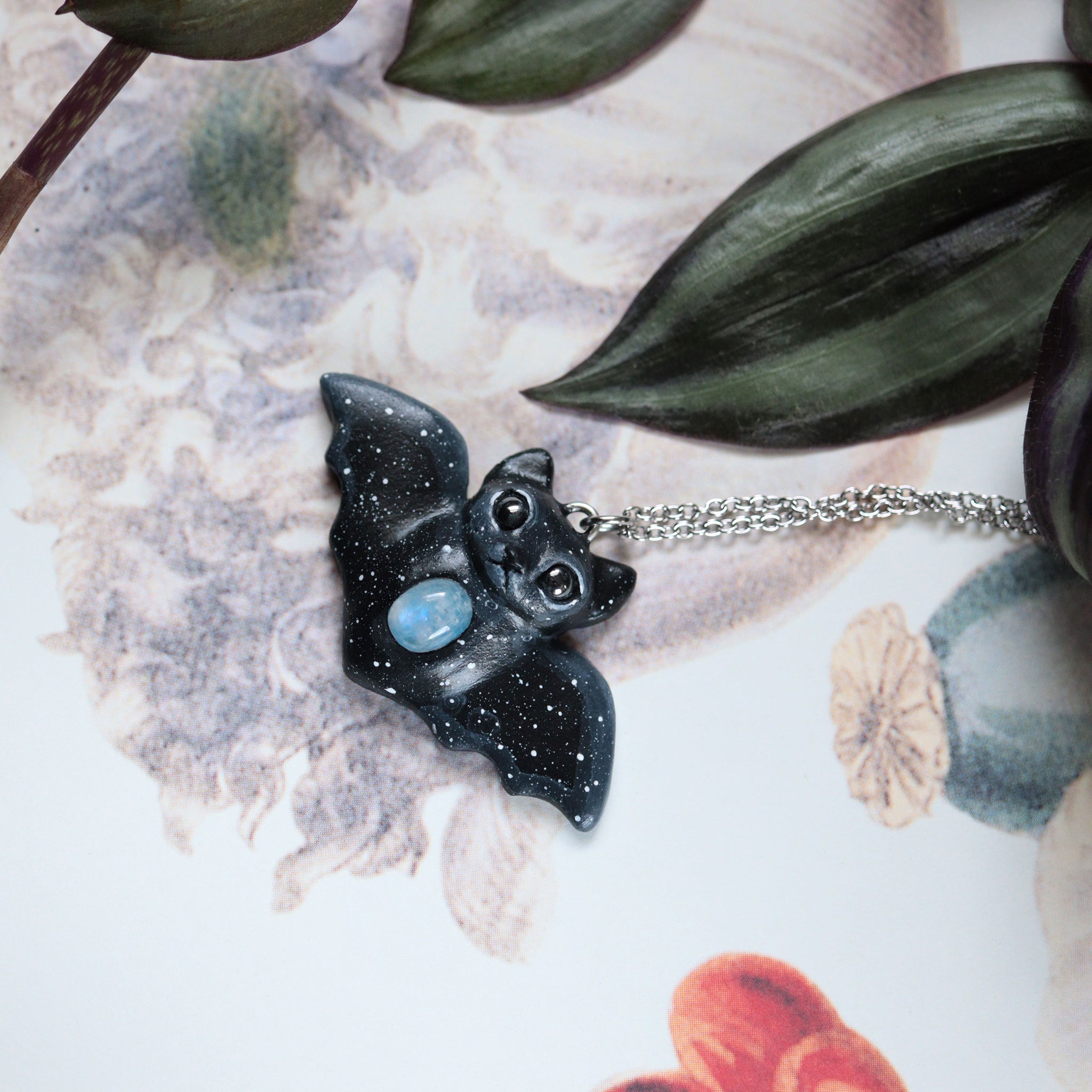 Preorder Bat Necklace Wings open