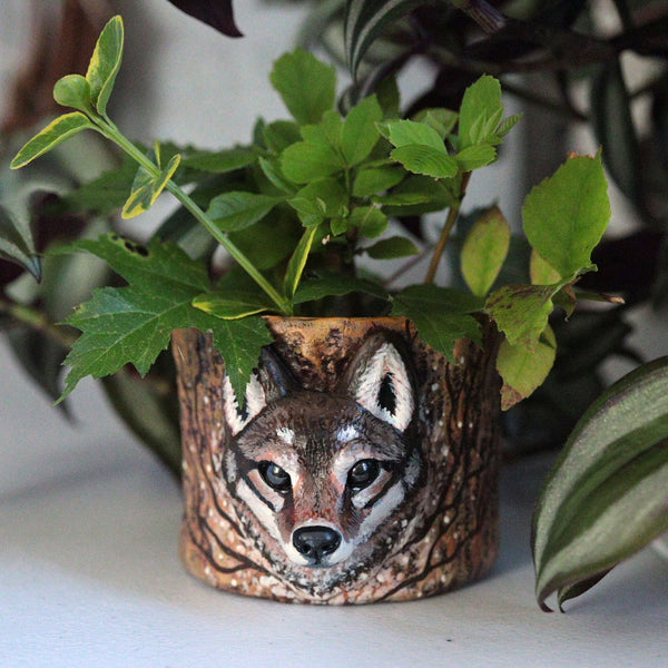 Upcycled Wolf Planter