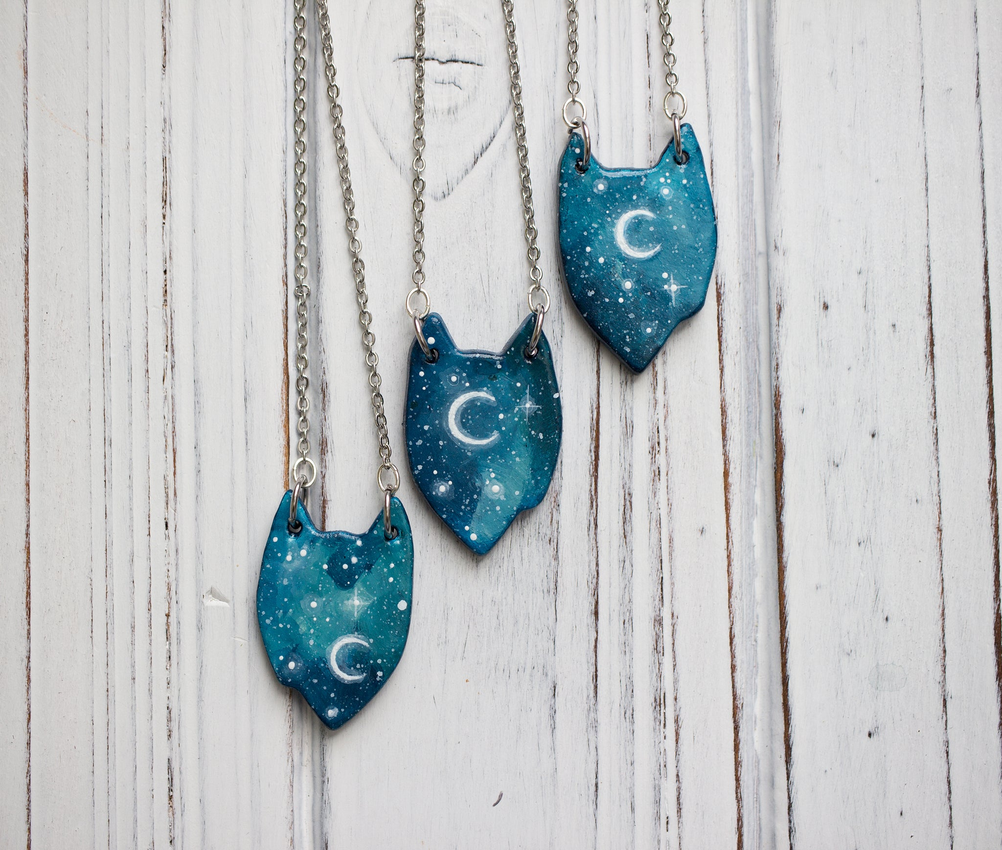 Starry NIght Wolf Necklace