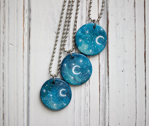 Starry Sky Moon Necklace