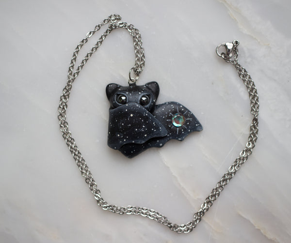 Baby Aura Quartz Bat Necklace