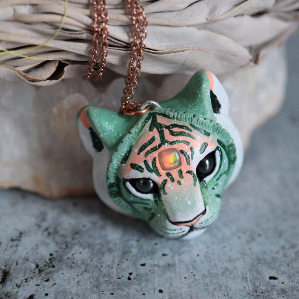 Square Opal Tiger Necklace
