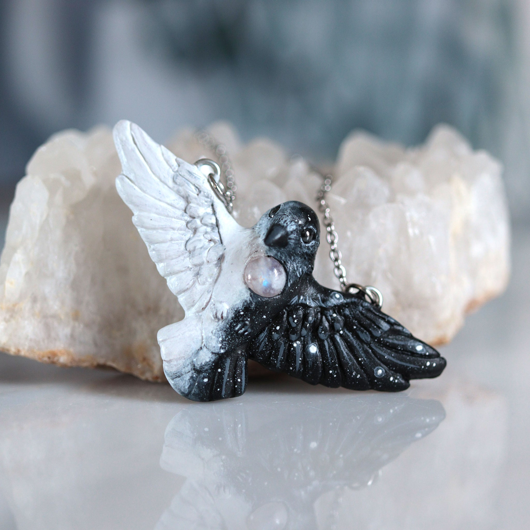 Moonstone Crow Necklace