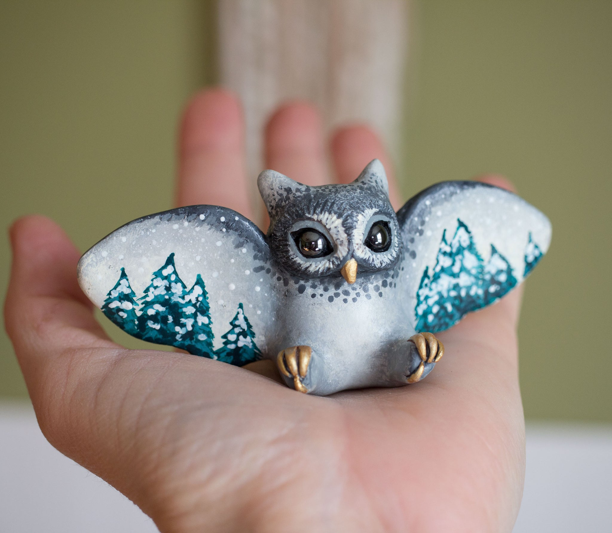 Winter Forest Owl Figurine