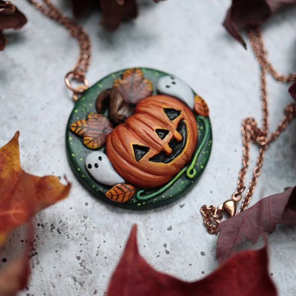 Samhain Medallion Ghosts Necklace