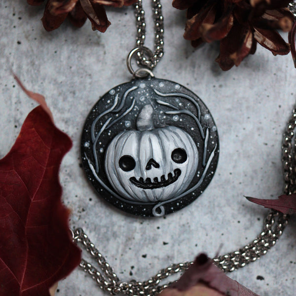 Samhain Medallion Black and White Necklace