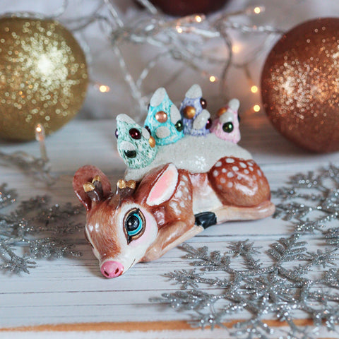 Upcycled Christmas Deer Figurine