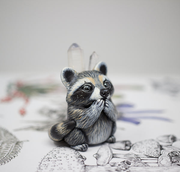 Crystal Raccoon Figurine