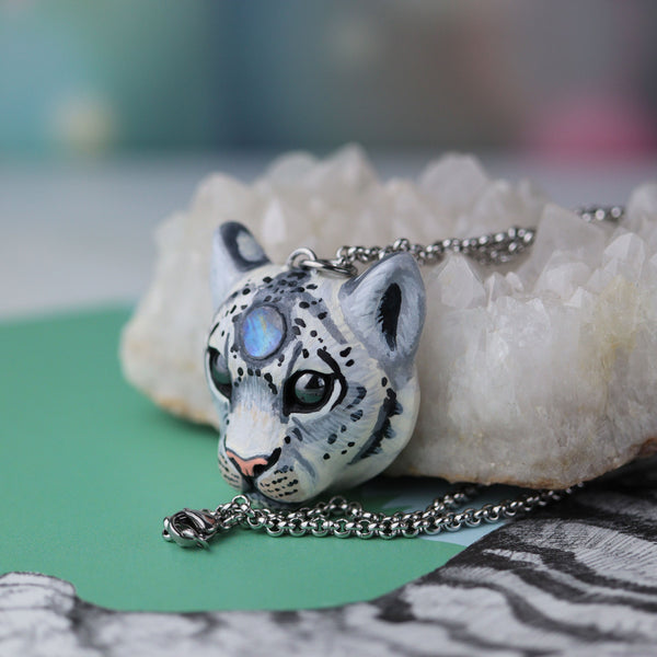 Moonstone Snow Leopard Necklace