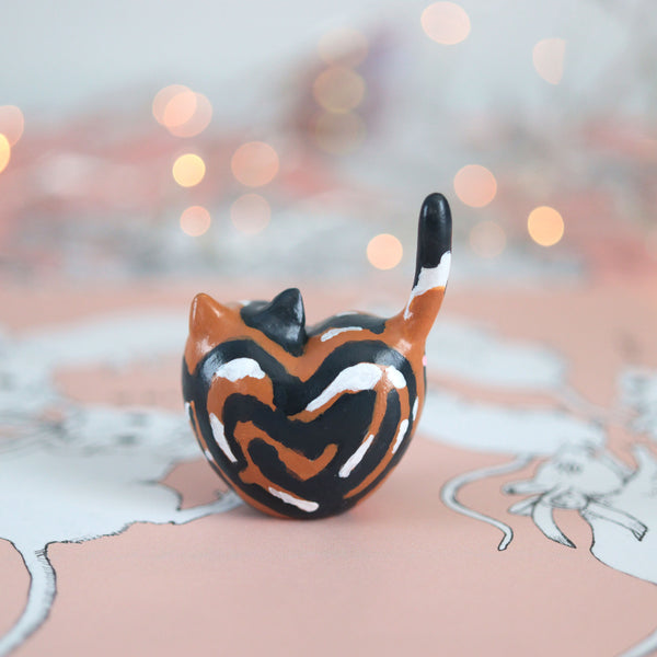 Calico Heart Kitty Figurine