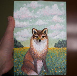 Fox in a field painting