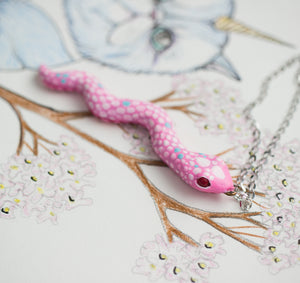 Pink snake necklace