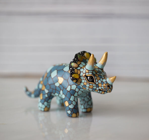 Opal Triceratops Figurine