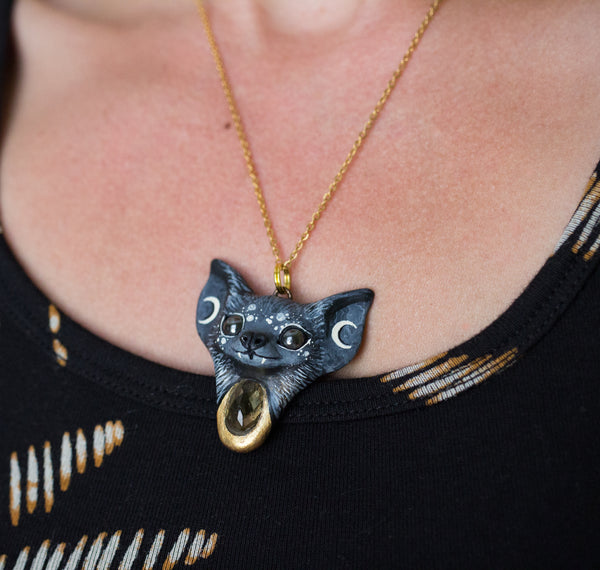 Citrine Bat Necklace
