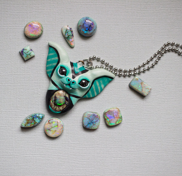 Monarch Opal Bat Necklace