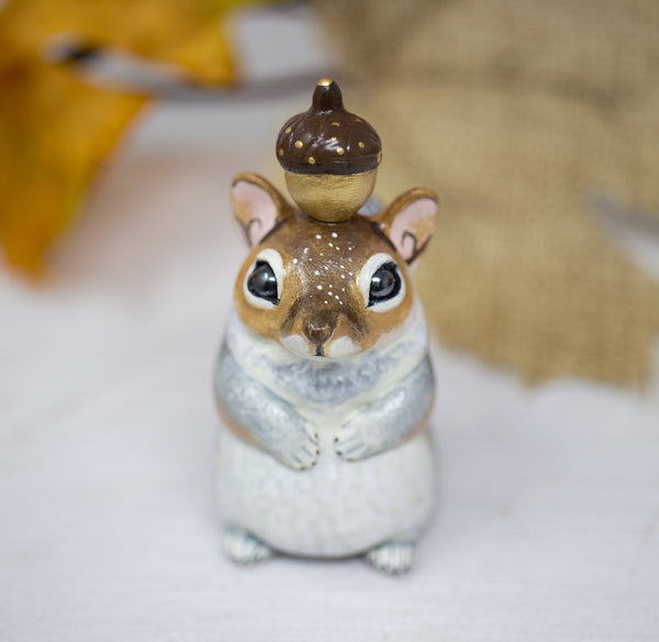 Gold and Silver Squirrel Figurine