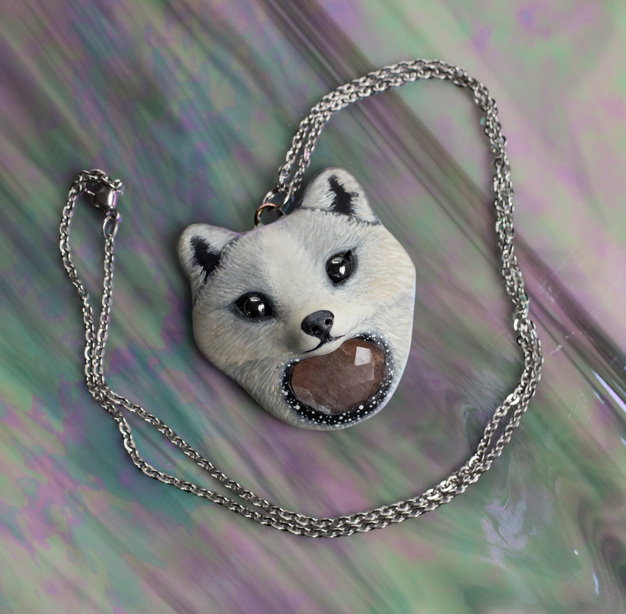 White Winter Arctic Fox Necklace