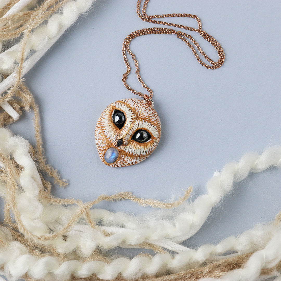 Moonstone Owl Necklace