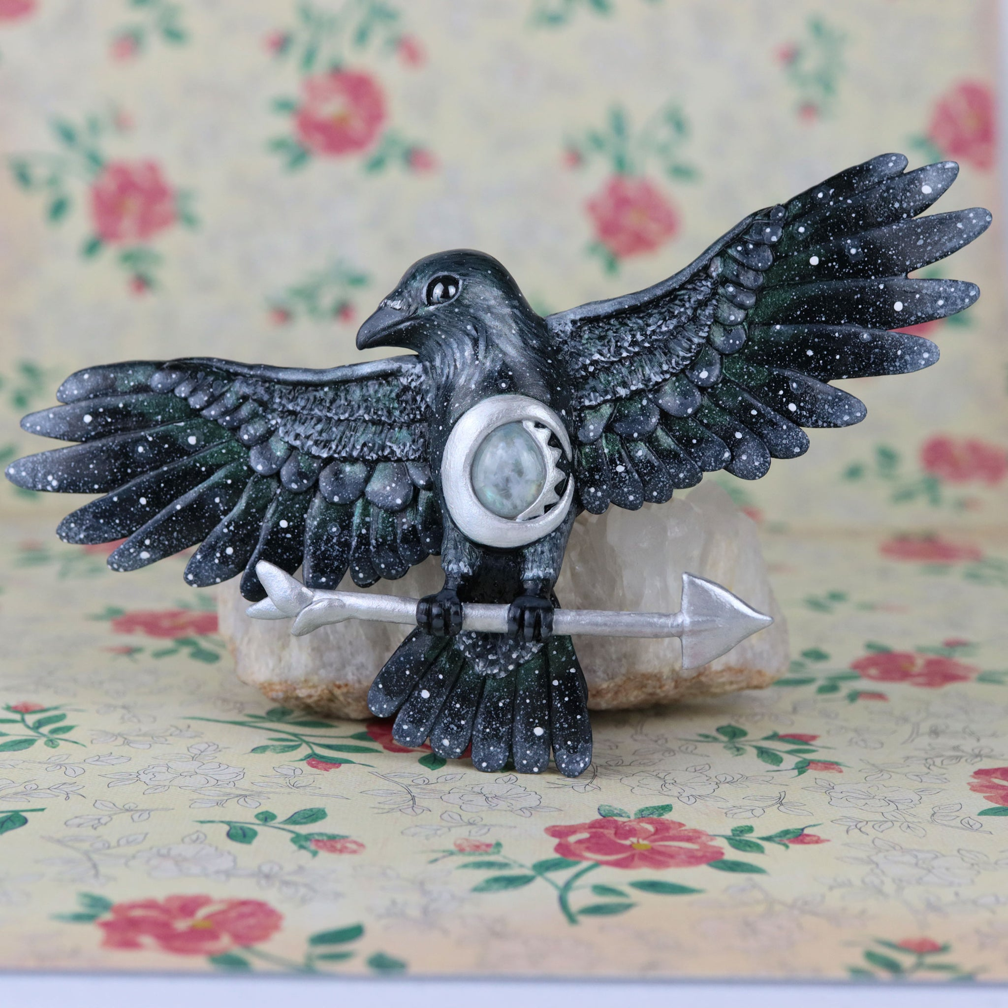 RESERVED Final Payment Moonstone Crow Wall Figurine