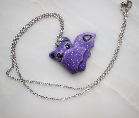 Mystic Quartz Bat Necklace