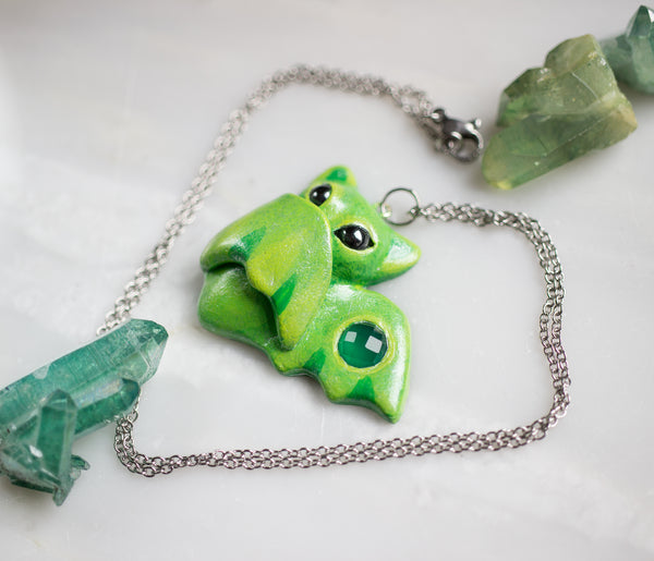 Green Onyx Bat Necklace