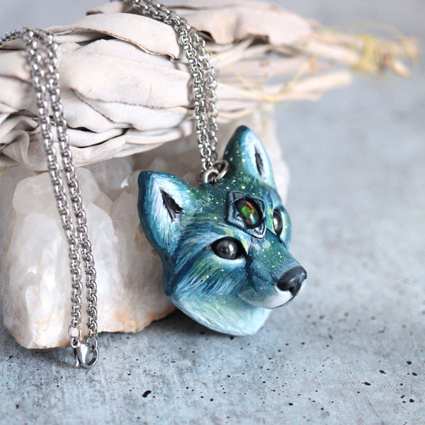 Black Opal Wolf Necklace