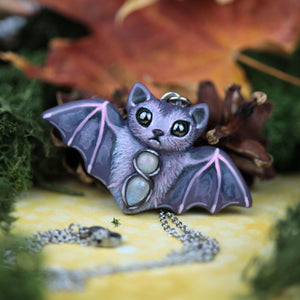 Purple Bat Necklace