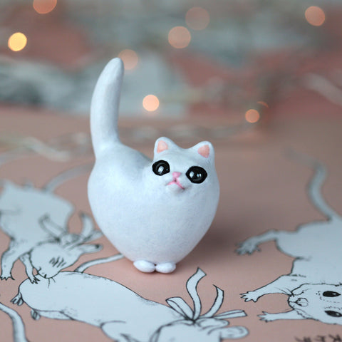 White Heart Kitty Figurine