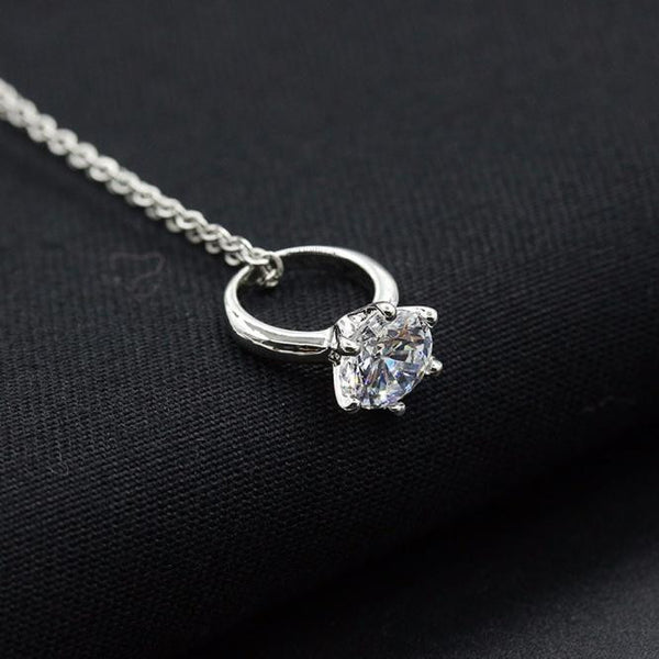 Women Diamond Ring Necklace - Summer Fashionista