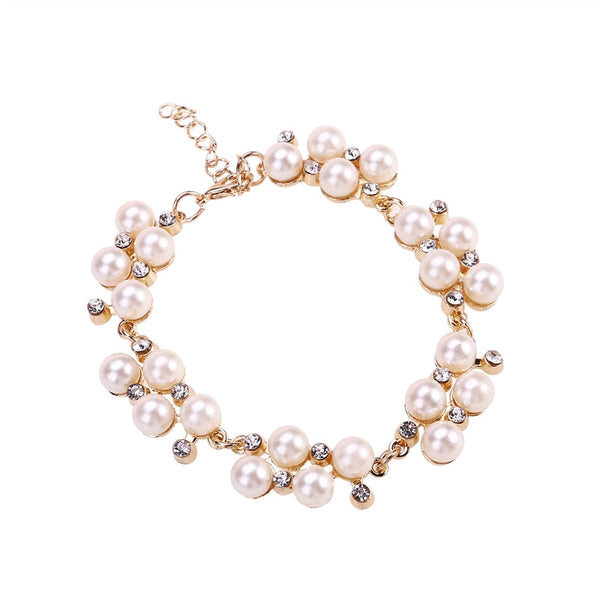 Freshwater Cultured White Pearl Gold Plated Bracelet - Summer Fashionista