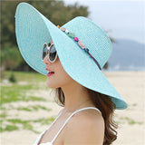 Handmade Straw Hat with Colorful Stones - Summer Fashionista