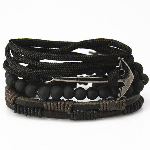 Anchor Leather Bracelet - Summer Fashionista